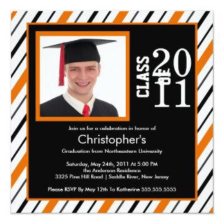 Photo Graduation Invitation Orange Black Stripes