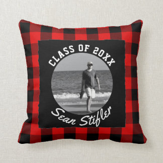 Photo Graduation Keepsake | Rustic Buffalo Plaid Throw Pillow