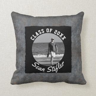 Photo Graduation Keepsake | Rustic Leather Look Throw Pillow