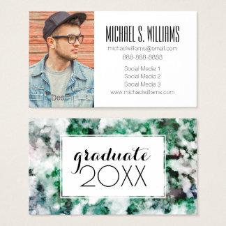 Photo Graduation | Marbled Quartz Texture Business Card