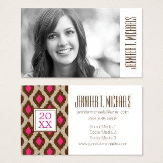 Photo Graduation | Modern ikat pattern Business Card