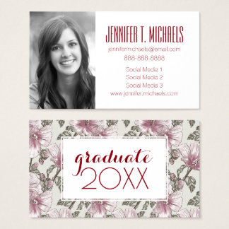 Photo Graduation | Muted Pink Hibiscus Flowers Business Card