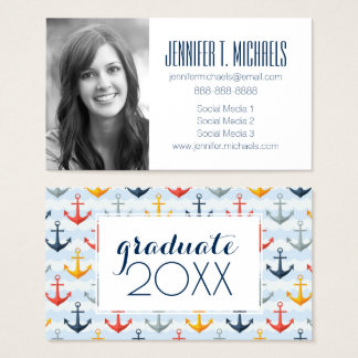 Photo Graduation | Nautical Pattern With Anchors Business Card