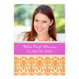Photo Graduation Party Invitation Card Pink Orange