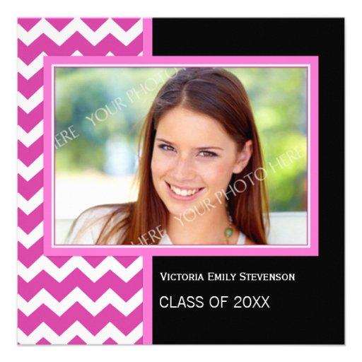Photo Graduation Party Invitation Pink Chevron