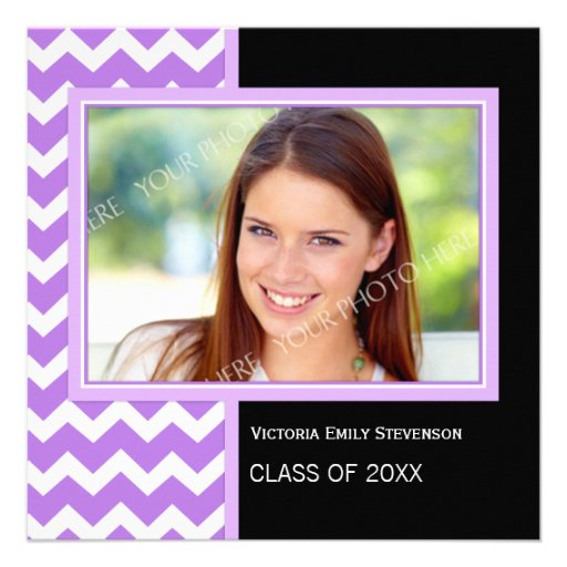 Photo Graduation Party Invitation Purple Chevron