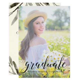 Photo Graduation Party Pretty Botanical Card