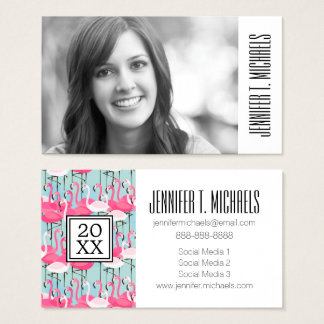 Photo Graduation | Pink & White Crowd Of Flamingos Business Card