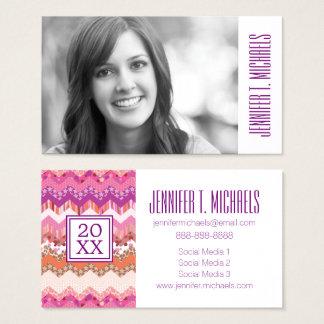Photo Graduation | Pink Zigzag Business Card