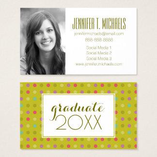 Photo Graduation | Polka-Dot Pattern Business Card