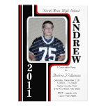 Photo Graduation/ Red Stripe Personalized Invitation