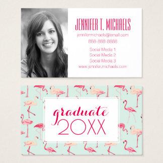 Photo Graduation | Retro Flamingo Pattern Business Card