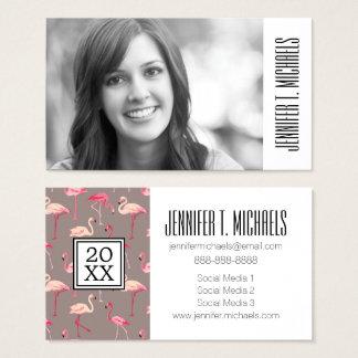 Photo Graduation | Retro Flamingos On Mint Stripes Business Card