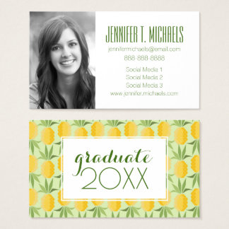 Photo Graduation | Retro Pineapples Business Card