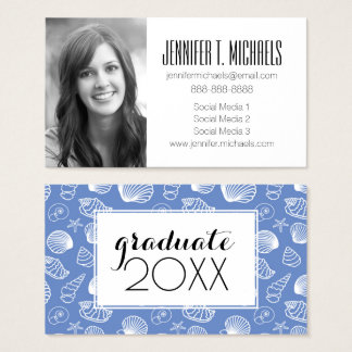 Photo Graduation | Sassy Seashell Pattern Business Card