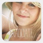 Photo Graduation Seals Modern High School Graduate Square Stickers