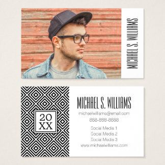 Photo Graduation | Stripes Pattern Business Card