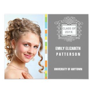 "Photo Graduation Swirl Banner 4.25"" X 5.5"" Invitation Card"