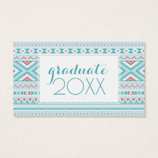 Photo Graduation | Teal & Pink Aztec Business Card