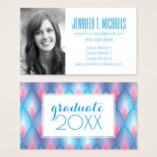 Photo Graduation | Teal & Pink Petals Business Card