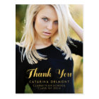 Photo Graduation Thank You Faux Gold Foil Postcard