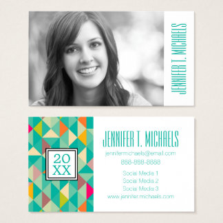 Photo Graduation | Triangles Pattern Business Card