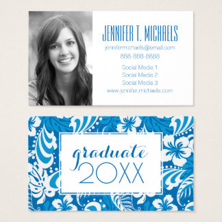 Photo Graduation | Tropical Hibiscus Pattern Business Card