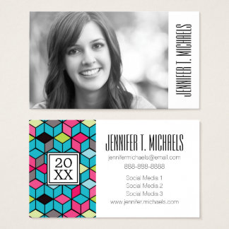 Photo Graduation | Turqouise and Pink Cube Pattern Business Card