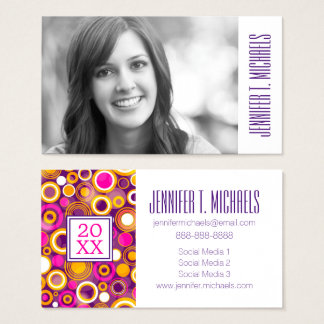Photo Graduation | Violet Polka Dot Pattern Business Card