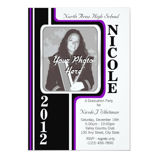 Photo Graduation/ Violet Stripe Card