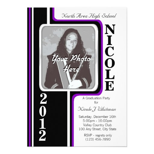 Photo Graduation/ Violet Stripe Personalized Invitation