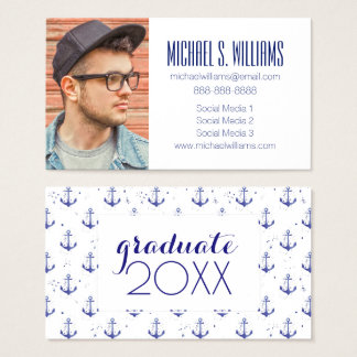 Photo Graduation | Watercolor Anchor Pattern Business Card