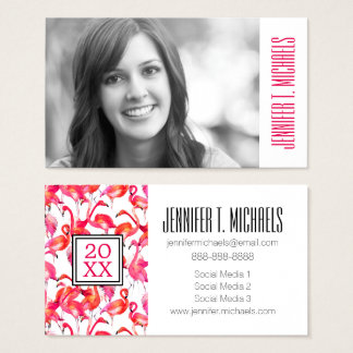 Photo Graduation | Watercolor Flamingo Business Card