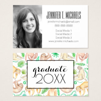 Photo Graduation | Watercolor Sloth Pattern Business Card