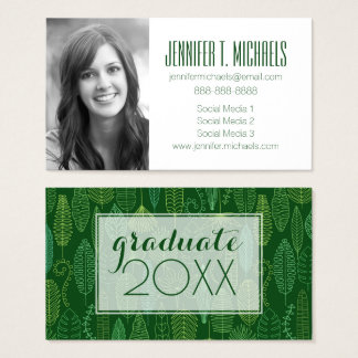 Photo Graduation | Watercolor Tropical Leaves Business Card