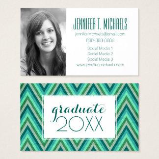 Photo Graduation | Zig Zag Striped Background Business Card