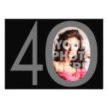 Photo grands 40 noirs/invitations grises de fête d