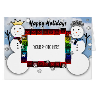 Photo Greeting Card King and Queen Snowman