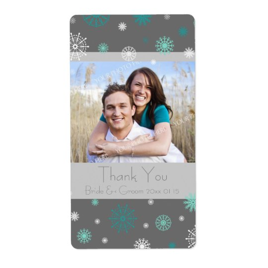 Photo Grey Aqua Snowflakes Winter Wedding Labels