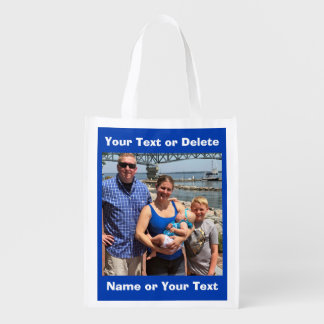 Photo Grocery Bag, Your 2 PHOTOS and TEXT Reusable Grocery Bag