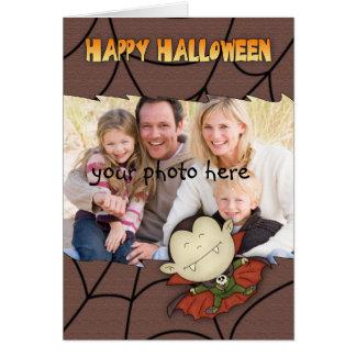 photo halloween card with cute vampire boy