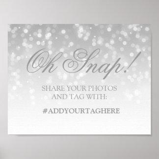 Photo Hashtag Wedding Sign Silver Bokeh Lights Poster
