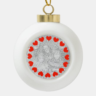 Photo heart Christmas balls   Add your own picture Ceramic Ball Christmas Ornament