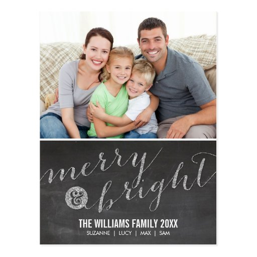 PHOTO HOLIDAY CARD chalkboard glitter type silver Post Cards