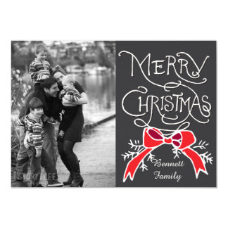 Photo Holiday Card: Chalkboard Merry Christmas Card