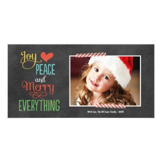 Photo Holiday Greeting Card | Black Chalkboard Customized Photo Card