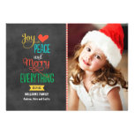 Photo Holiday Greeting Card | Black Chalkboard Invite