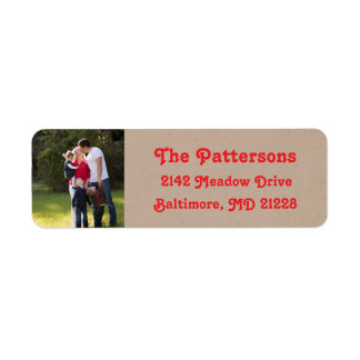 Photo Holiday Return Address Labels: Kraft Colored