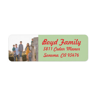 Photo Holiday Return Address Labels: Red & Green