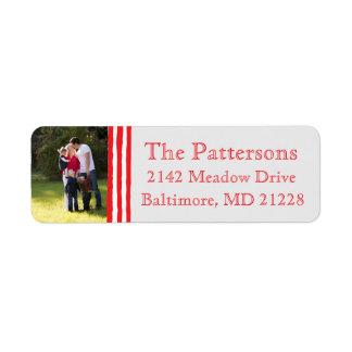 Photo Holiday Return Address Labels: Striped Photo